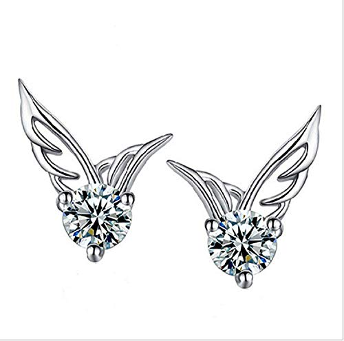 Aimys 925 Sterling Silver Angel Wings AAA Zircon Accented Shining Romantic Stud Earring for Women and Girls