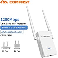 Comfast CF-WR755AC AC1200 WiFi Repeater/Router/Access Point 5.8Ghz Wireless Wi-Fi Range Extender 802.11AC WiFi Signal Amplifier