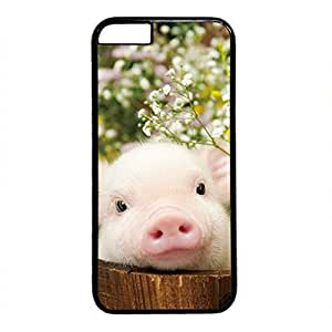 iCustomonline Custom Cute Pig Baby Hard Back PC Black Case Skin Cover For iPhone 6 (4.7 inch)
