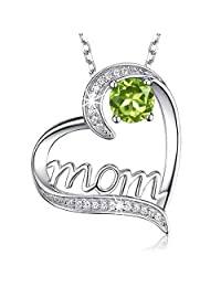 "August Birthstone Necklace Green Peridot Jewelry Birthday Gifts Mom Sterling Silver ❤️ I Love You Mom ❤️ Love Heart Necklace for Women 20"" Chain"