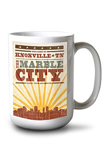 - Lantern Press Knoxville, Tennessee - Skyline and Sunburst Screenprint Style (15oz White Ceramic Mug)
