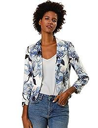 Allegra K Women's Contrast Lining Open Front Floral Print Blazer