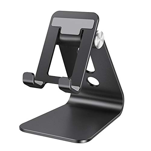 Cell Phone Stand, OMOTON Adjustable Aluminum Desktop Cellphone Tablet Stand Holder for Cellphones, iPhone and E-Readers
