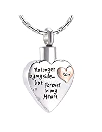 constantlife Grandpa/Grandma/Dad/Mom/Son/Daughter/Brother/Sister Urn Necklace for Ashes Keepsake Cremation Jewelry Heart Charm