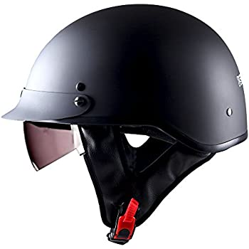 1STorm Motorcycle Half Face Helmet Mopeds Scooter Pilot with retratable Inner Smoked Visor, Matt Black
