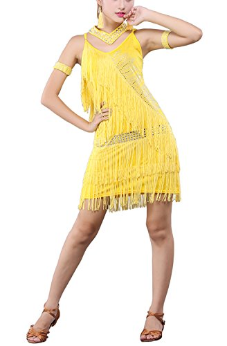 Great Gatsby Style Dropped Waist flapper Dresses Clothing Clothes Costume Outfit (Yellow Flapper Dress)