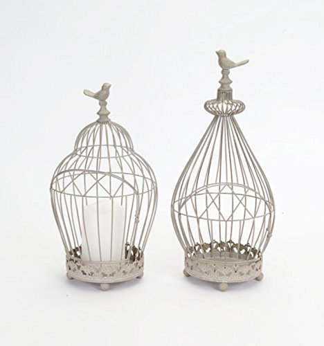 Set of 2 Vintage Rose Taupe Antique-Style Wire Birdcage Pillar Candle Holders 15.75