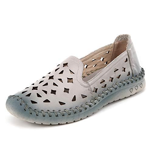 FLYRCX Verano de Cuero Transpirable Suave Fondo Antideslizante Zapatos Planos Sandalias señoras Solo Zapatos Zapatos de Trabajo C
