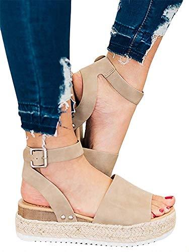 Liyuandian Womens Open Toe Ankle Strap Buckle Sandals Trendy Espadrilles Platform Wedge Slingback Flats