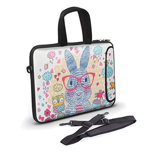 7-9.3 inch Tablet Sleeve, Anyshock Neoprene Tablet Bag Carring Case Sleeve Cover with Handle Ultraportable Water-Resistant for Laptops/Notebook/ebooks/Kids Tablet/Apple iPad(Glasses Rabbit) (Ipad Mini 3 Neoprene Case)