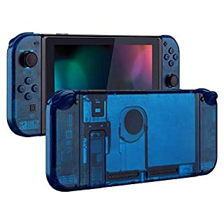 eXtremeRate Transparent Clear Blue Back Plate for Nintendo Switch Console, NS Joycon Handheld Controller Housing with Full Set Buttons, DIY Replacement Shell for Nintendo Switch