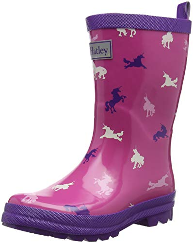 Hatley Girls' Printed Rain Boots, Unicorn Silhouettes, 1 M US Big ()