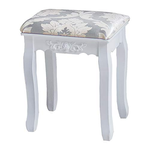 DELMANGO Vanity Cushioned Chair for Dressing Makeup Table Living Room Bedroom Stool, White