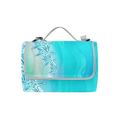 Outdoor Sea Starfish Picnic Mat Rug Water Resistant Foldable Handle Beach Camping Blanket