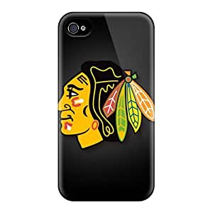 Shock Absorbent Hard Cell-phone Cases For Iphone 4/4s (uZk13055AZBX) Unique Design Beautiful Chicago Blackhawks Skin