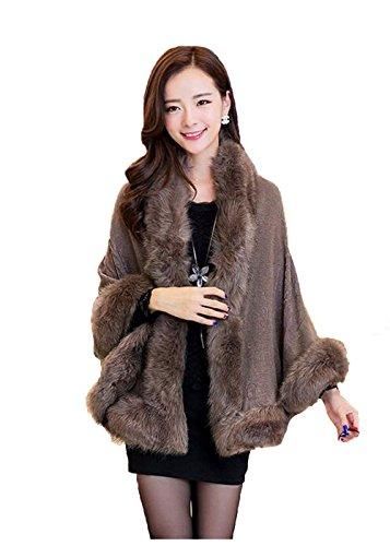 Kelaixiang Faux Fox Fur Shawls Jackets Plus Size Coats Wraps Winter Scarves (Brown)