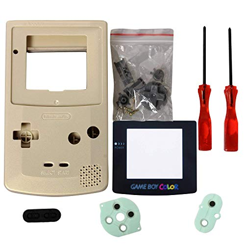 Gbc Case,eJiasu Full Replace Parts Housing Accessories Repair Kit Pack Replacement for Nintendo Gameboy Color Set GBC Shell (Gold Case with Lens and - Repair Boy Nintendo Game