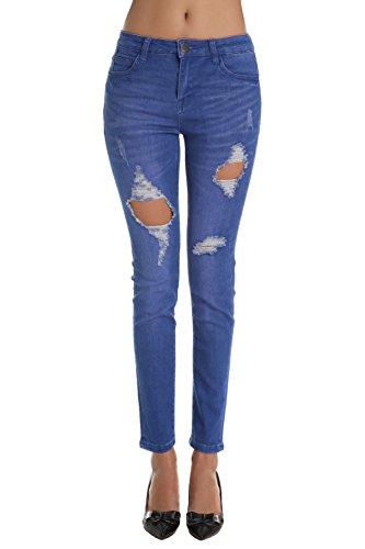 ZLZ Pantalones Jeans Rotos Vaqueros Agujero de Mezclilla Azul