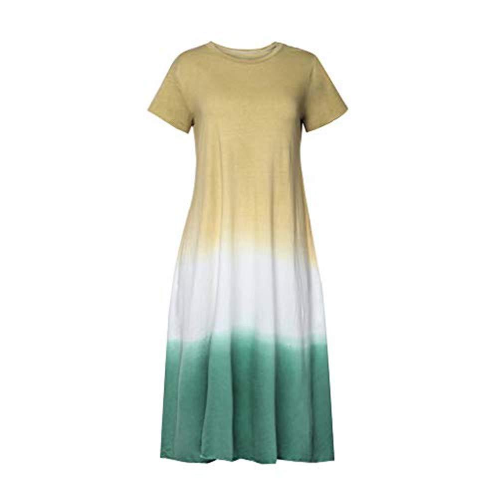 【HebeTop】 Women's Summer Short Sleeve Color Block Patchwork Pleated Elastic Crew Neck Loose Midi Dress Yellow by HebeTop➟Women's Clothing
