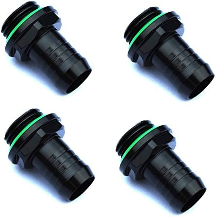 """Bitspower G1/4"""" to 3/8"""" Barb Fitting for Soft Tubing, Matte Black, 4-Pack"""
