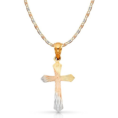 14K Tri Color Gold Cross Stamp Charm Pendant with 2.6mm Valentino Star Diamond Cut Chain Necklace - 16