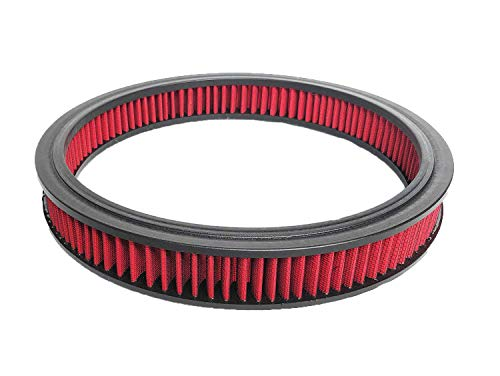 A-Team Performance Air Filter Element High Flow Replacement Air Cleaner Washable and Reusable Round Cotton Fiber Compatible with Buick Chevrolet GMC Ford Mopar Oldsmobile Pontiac Red 14