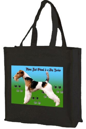 Fox terrier Cotton shopping bag, nero