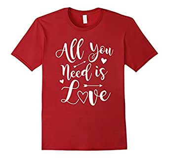 Mens Valentine's Day T-Shirt - All You Need Is Love Tee 2XL Cranberry