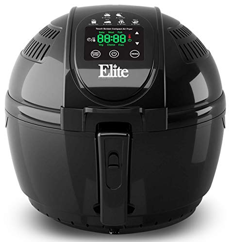 - Elite Platinum EAF-1506D Electric Digital Hot Air Fryer Oil-less Cooker, 6 in 1 Cooking Functions, Adjustable Time + Temperature, PFOA/PTFE Free, 1400-Watts with 26 Recipe Cookbook, 3.5 Quart, Black