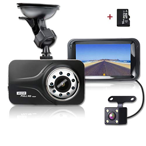 SHISHUO Dash Cam, 1080P HD 3 Inch Screen Dual Cameras Front and Rear, Vehicle On-dash Video Recorder, Parking Monitoring, HDR Night Vision, Motion Detection, Built In G-Sensor and 16G Micro SD Card. by SHISHUO