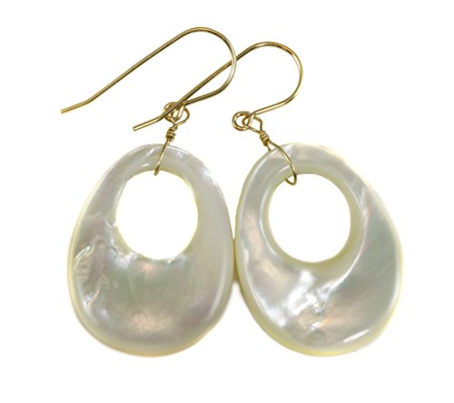 14k Yellow Gold Mother of Pearl Earrings White Oval Large MOP Circle Drops 14k Yellow Gold Mop