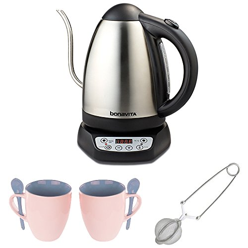 Bonavita 1.7 Liter Digital Electric Kettle with 2 Mugs + Mes