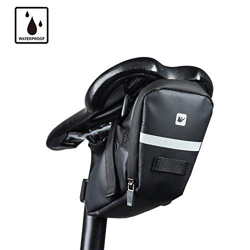 Rhinowalk Waterproof Bike Saddle Bag Bicycle Bag Under seat Bag Rainproof Mountain Road Bike Seat Bag Bicycle Bag Professional Cycling Accessories (Matt -Black)
