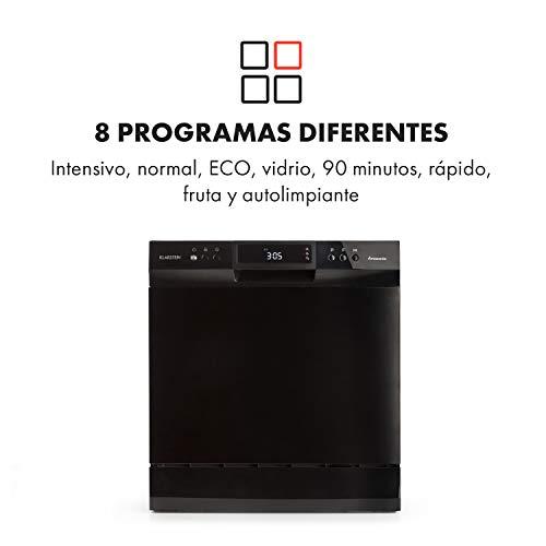Klarstein Amazonia - Lavavajillas, Máquina lavaplatos, 8 programas: intensivo, normal, ECO, vidrio, 90 minutos, rápido, fruta, autolavado, Pantalla ...