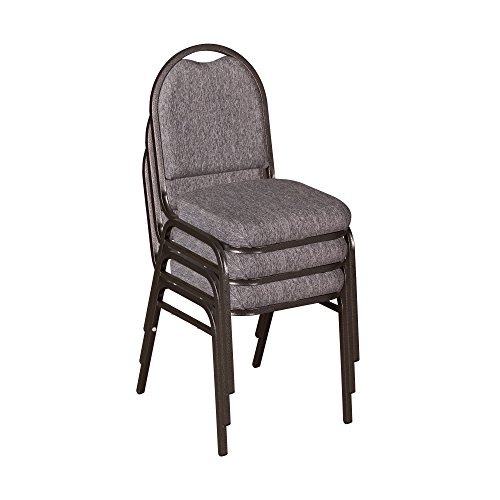 Norwood Commercial Furniture 250 Series Stack Chairs - Light Gray Fabric/Silver Frame, NCFDSC2LGSVF (Pack of 3)