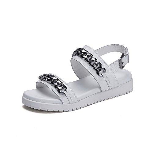 Amoonyfashion Kvinna Öppen Tå Låga Klackar Mjuka Material Spänne Sandaler Med Metall Prydnaden Vit