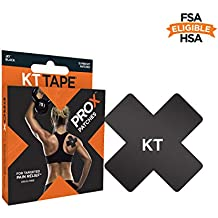 KT Tape PRO X Kinesiology Therapeutic Tape, Targeted Pain Relief Patches, 15 Pack, Jet Black