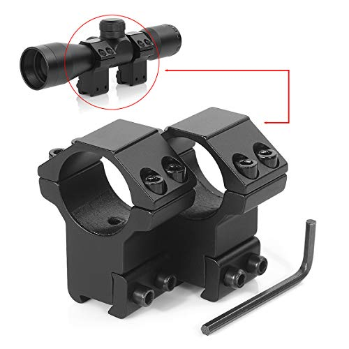 (LIRISY 1 Inch Scope Rings, 11mm High Profile Scope Mount for 11mm Dovetail Rail - One has Stop pin, Pack of 2)