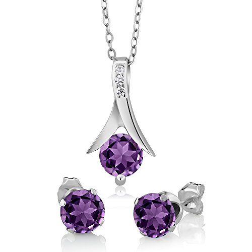 (Gem Stone King 2.25 Ct Round Purple Amethyst & Diamond Silver Pendant & Earrings Set 18inches Chain)