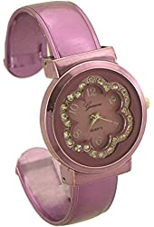 Geneva Women's Flower Bangle Watch with Rhinestone purple - 2