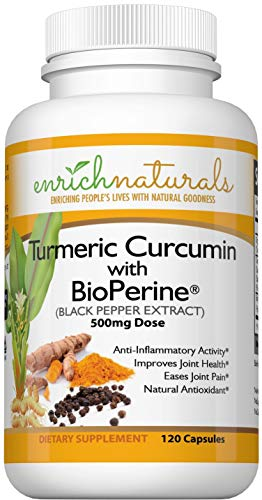 Turmeric Capsules with Black Pepper - 500mg 120 Capsules of Turmeric Supplements with Bioperine - Turmeric Curcumin with Black Pepper Supplement Capsules