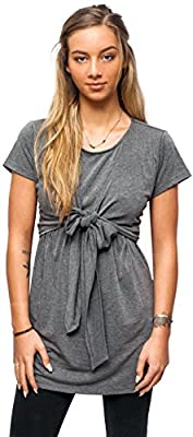 sofsy Soft-Touch Rayon Blend Tie Front Nursing & Maternity Fashion Top Dress