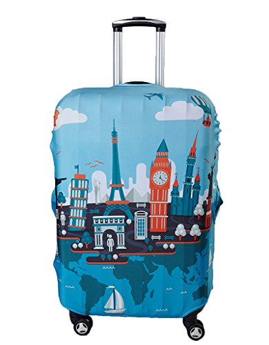 Myosotis510 Travel Around the World Luggage Protector Suitcase Cover (XL, Eiffel Tower)