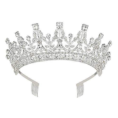 Makone Queen Tiaras and Crown with Comb for Womens Birthday Girls Prom Halloween Bridal Party