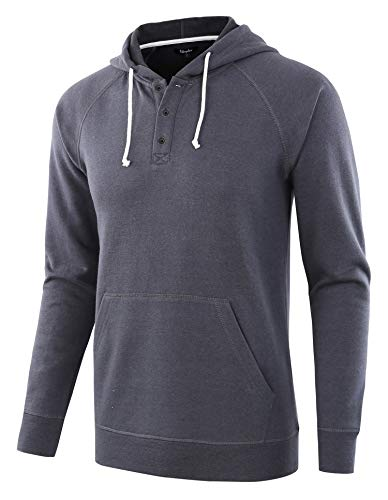 Estepoba Men's Casual Long Sleeve Henley Sweatshirt Knit Fleece Hoodie Pullover Cadet Blue XL
