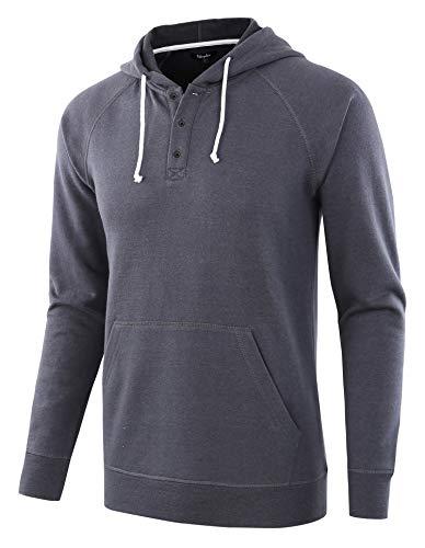 - Estepoba Men's Casual Long Sleeve Henley Sweatshirt Knit Fleece Hoodie Pullover Cadet Blue L