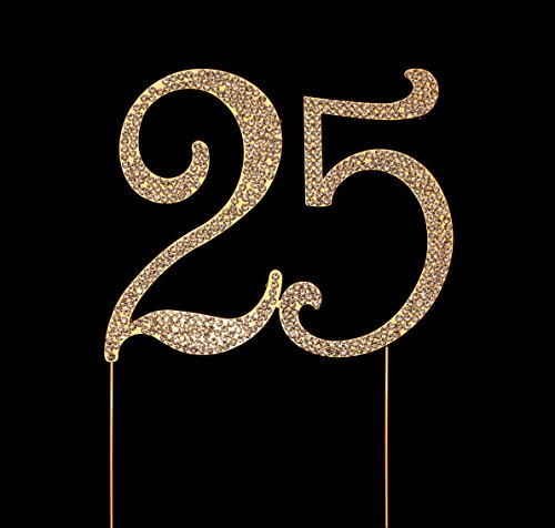 Number 25 for 25th Birthday Cake Topper, 25th Anniversary Cake Topper, 25th Birthday Party Decorations, Joint Gold, 4.5 Inches Tall -
