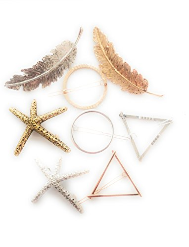 Hair Clips for Women Leaf or Feather StarFish Hollow Geometric design for thick hair Gold and Silver 8 pcs (Gold Leaf Circle Pin)