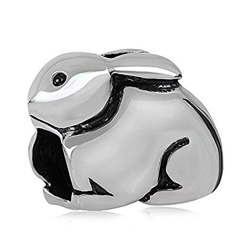 - Easter Bunny Charms 925 Sterling Silver Rabbit Animal Charms for 3mm Snake Chain Bracelet