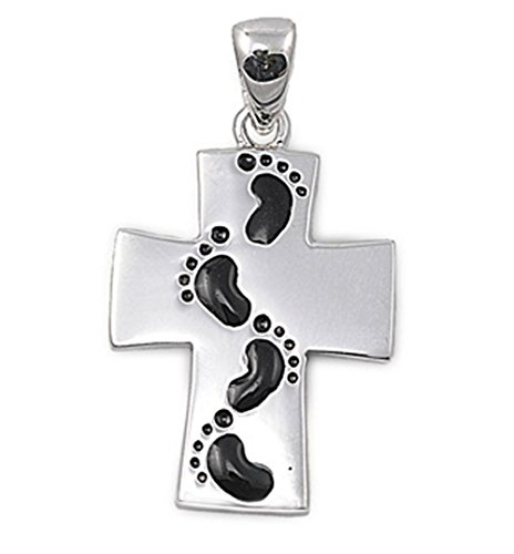- Cross Pendant .925 Sterling Silver Footprint Charm Jewelry Making Supply Pendant Bracelet DIY Crafting by Wholesale Charms